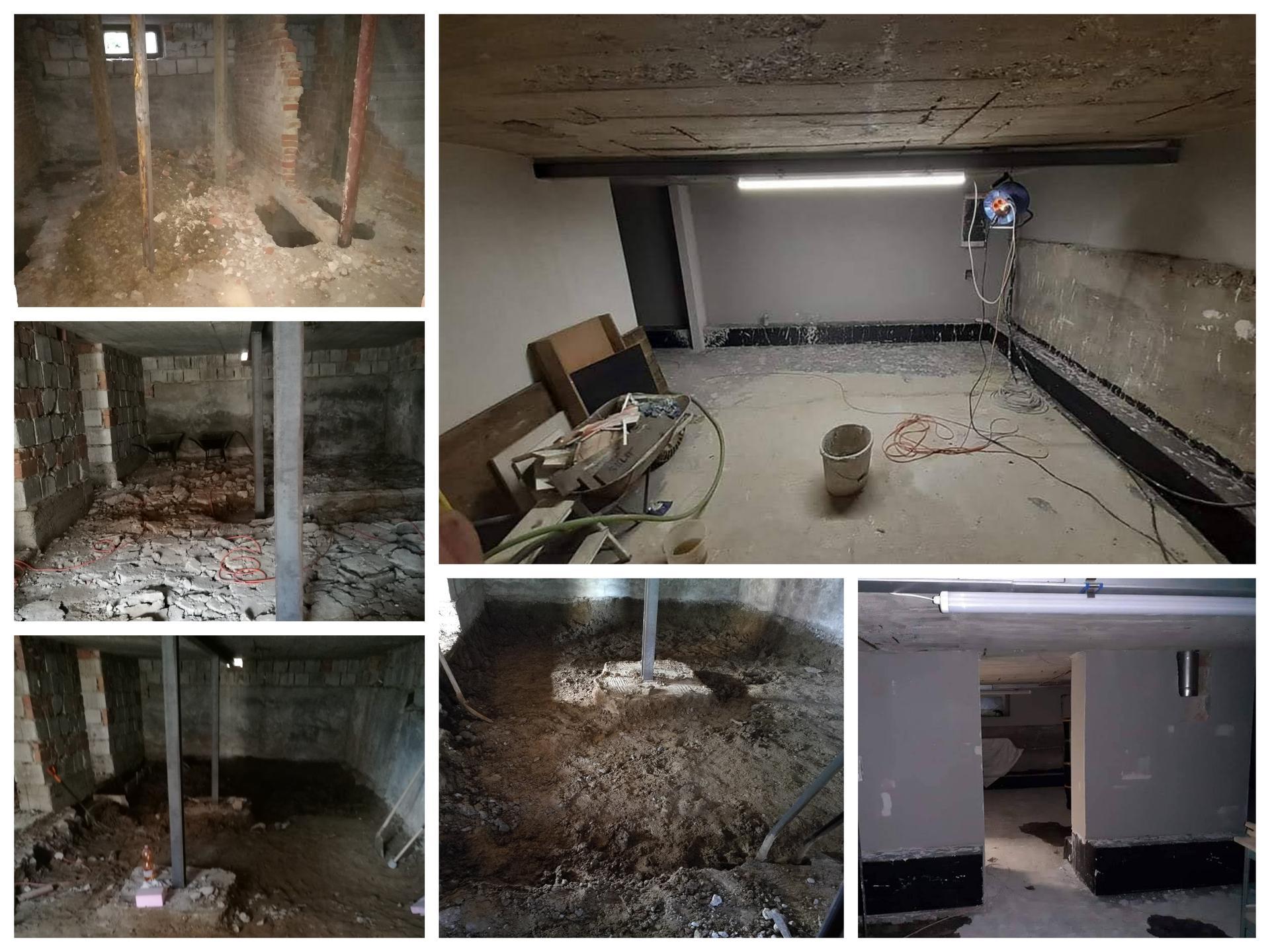 Rekonštrukcia veľmi starej stavby :) - Keďže je dom komplet podpivničený,museli sme sa chopiť prerábky i tam.Začali sme rozbitím pôvodného betónu,priečok+prehĺbenie,spravili sa pevné patky na konštrukciu,ktorá pre istotu podopiera celý dom..No a potom nová podlaha,priečky,omietky...