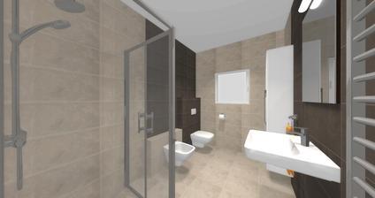 Vizualizácia kúpelne - túto sme si vybrali. Farba šedá.