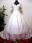Stylové svatební šaty s vlečkou vel. 44-48, 48