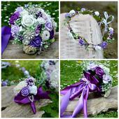 Svatební kytice, korsáž a věneček,