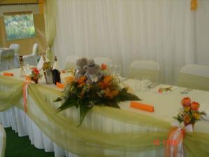 Detail stôl mladomanželia