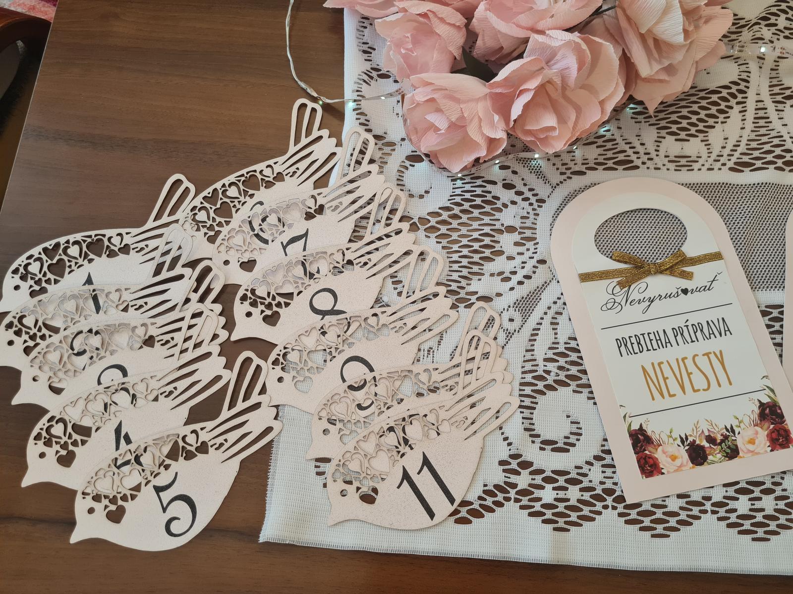 svadobná výzdoba číslovanie stolov - Obrázok č. 1