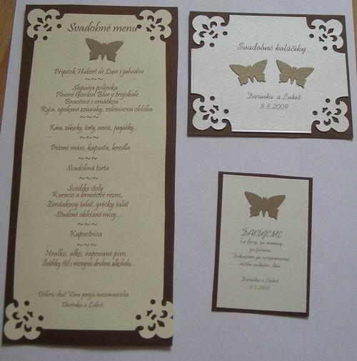 D+L - menu a kartičky... s motýlikmi