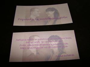 Pozvánka ke stolu a kartička s dary k oznámení