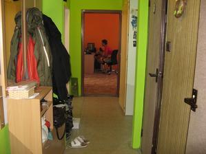 Současný stav našeho bytu před celkovou rekonstrukcí, konečně jsme se po 4 letech dočkala. Chodba.