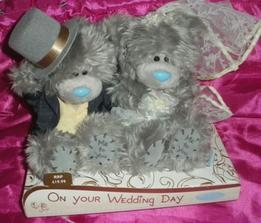 Dneska objednaní medvídci na auto nevěsty . - )))Díky úžasné kamarádce, Gabči . - )))