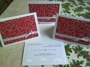 Naše svatební oznámení, vlastnoručně dělaná. Technika - scrapbooking, cardmaking