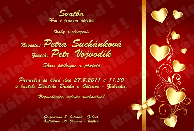 Petra+Petr  27.8.2011 - nase svatebni oznameni