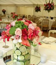 lime and flower centerpieces