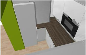 Tu vidno budúce umývadlo naľavo, umývačku riadu a začiatok pracovnej plochy