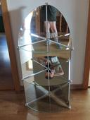 Rohová zrcadlová polička/police, výška 95 cm,