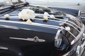 Puget a klobouk s mašlema komplet na svatební auta,