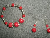 Červený setík- náramok+náušnice,