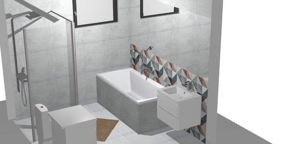 Kúpelňa  vizu Rako cemento, deco - Obrázok č. 1
