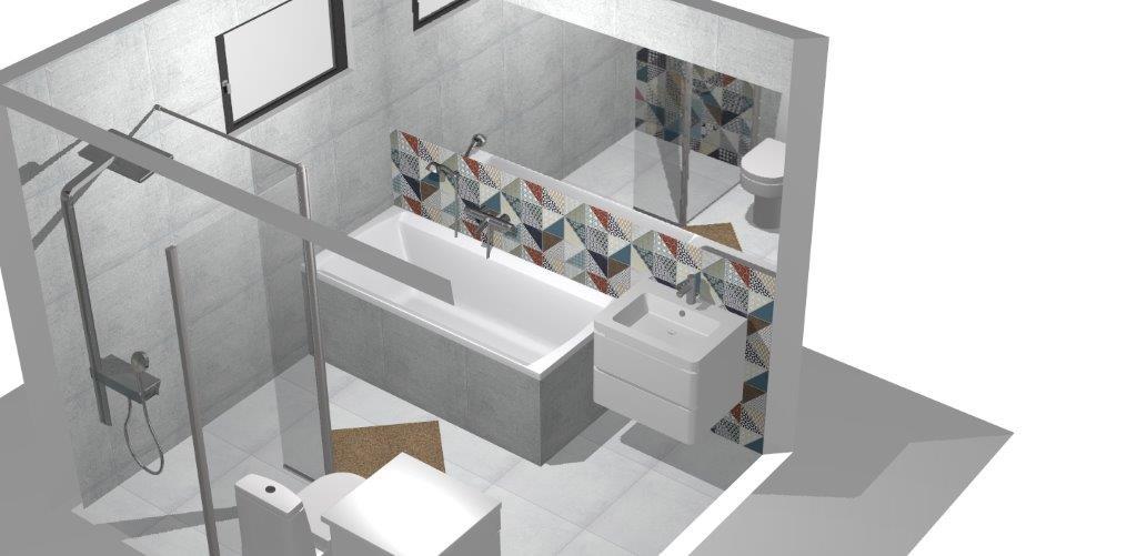 Kúpelňa  vizu Rako cemento, deco - Obrázok č. 2