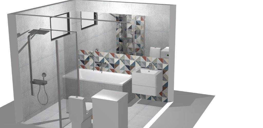 Kúpelňa  vizu Rako cemento, deco - Obrázok č. 3