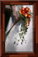 svatební kytka - oranžová kala