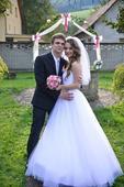 Tylové svadobné šaty XS-S (34-36) + závoj, 34