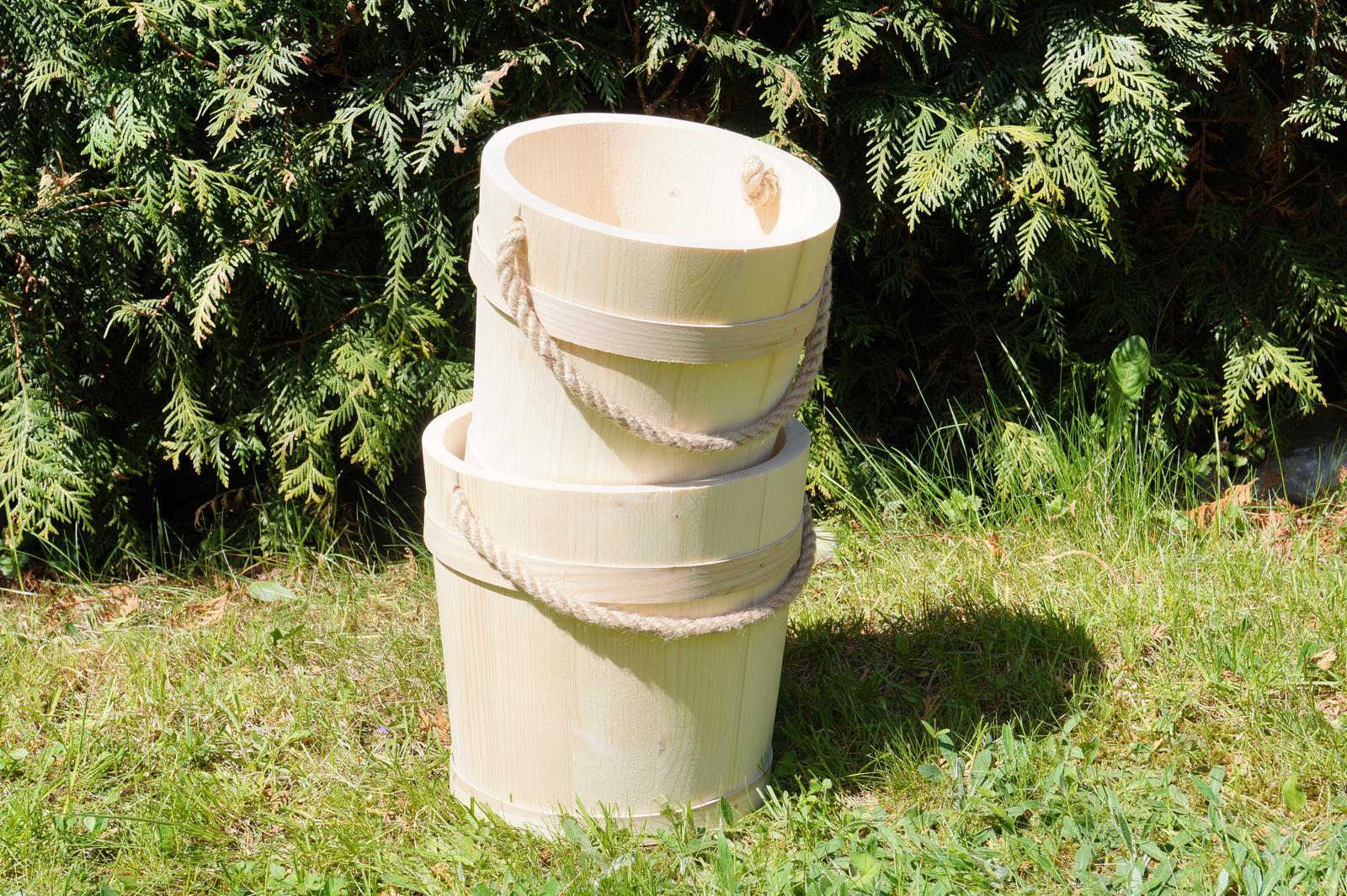 Drevené dekoračné vedro 3,5L - Obrázok č. 1