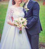Elegantné biele svadobné šaty, 36
