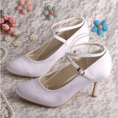 Bílé svatební boty - satén, 35