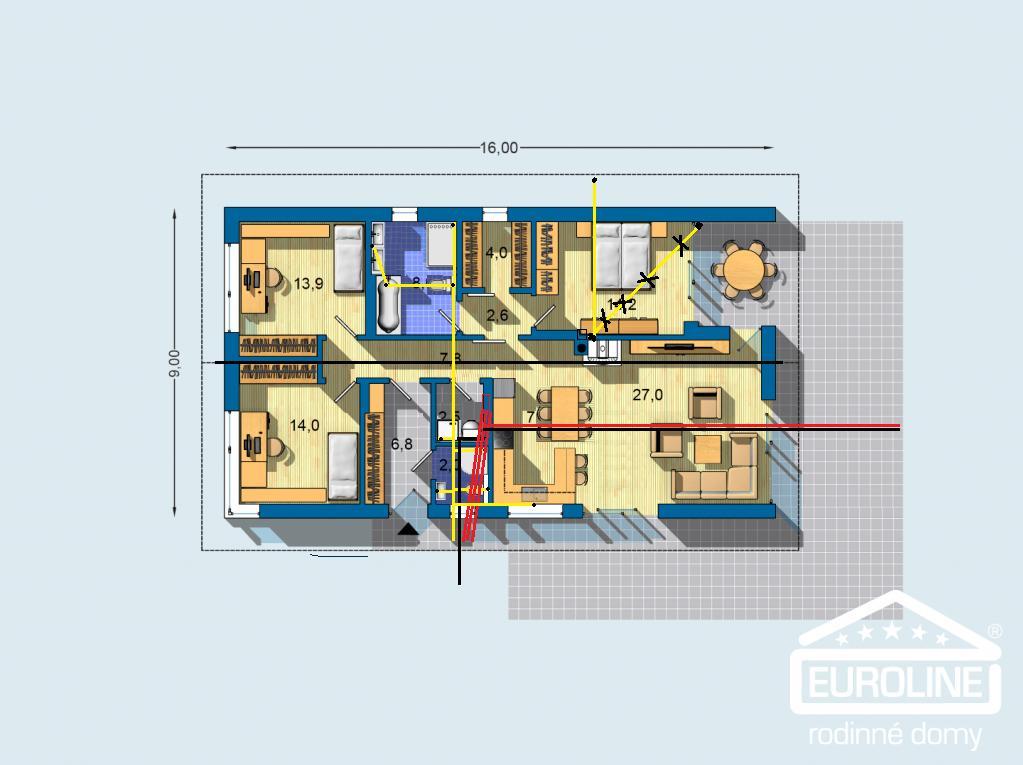Euroline Bungalov 1871 - Upraveny pôdorys 2. kupelna so sprchou, zrusená špajza,(stačí regál v technickej miestnosti), upravená veľká kúpelna, kuchyňa a skyce pre majstrov