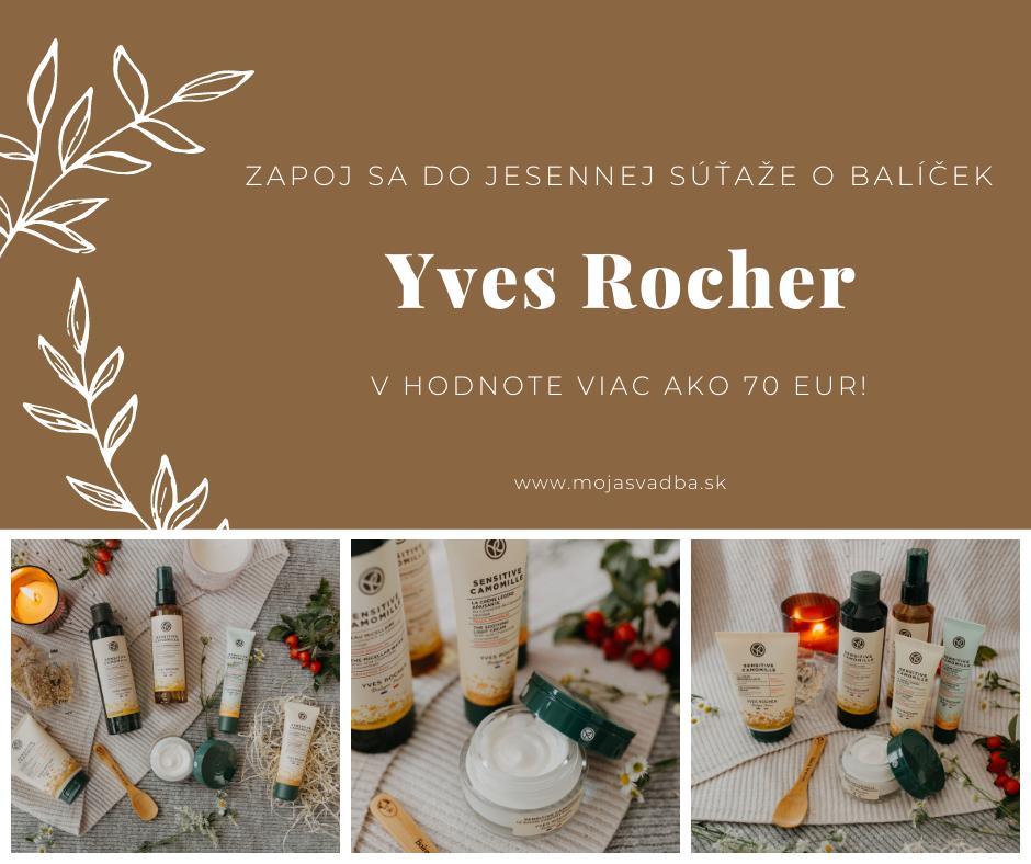 Milé nevesty, keďže dnes máme prvý jesenný deň, pripravili sme si pre vás spolu s Yves Rocher skvelú súťaž na privítanie nového ročného obdobia. Zapojte sa a vyhrajte balíček kozmetiky v hodnote viac ako 70 EUR, v ktorom nájdete nový rad Sensitive Camomille. :) Súťažiť môžete tu: http://bit.ly/sutaz-yves-rocher-camomille - Obrázok č. 1