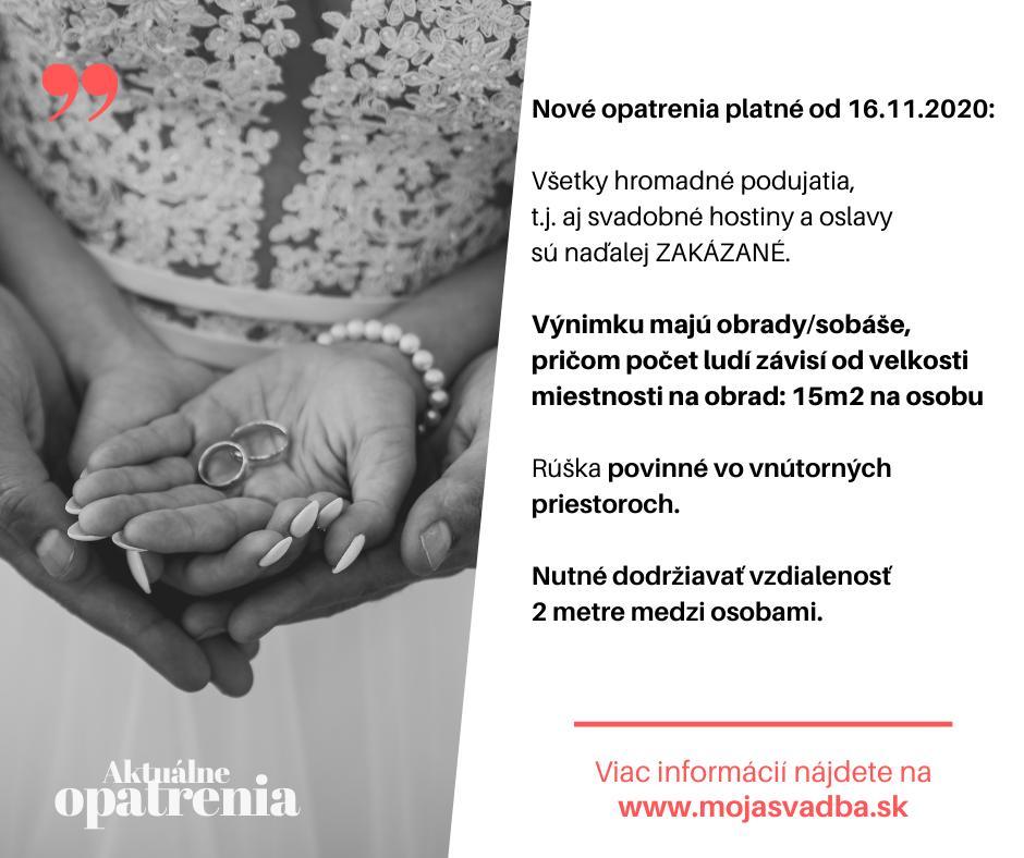 KORONAVÍRUS: Milé nevesty, opäť sme pre vás aktualizovali článok s najnovšími opatreniami a informáciami ohľadom svadieb: https://mojasvadba.zoznam.sk/magazine/svadba-koronavirus - Obrázok č. 1