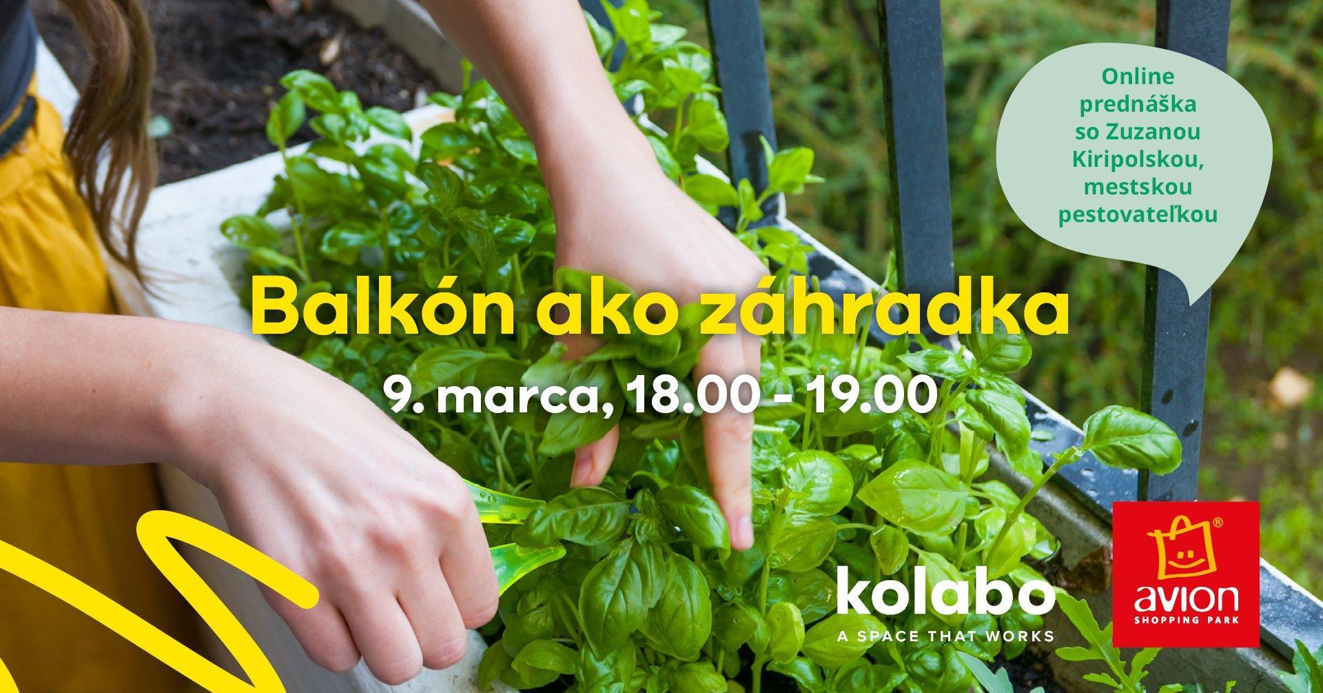 Balkón ako záhradka: Zúčastnite sa online prednášky! :) Už 9.3.2021 o 18:00 sa naživo dozviete viac o pestovaní v meste – na balkóne aj v komunitných záhradách. Zistíte, čo potrebujeme aby sme si mohli vypestovať aj v mestských podmienkach čerstvú a chrumkavú zeleninu, ovocie či bylinky. ;-)  Aké nádoby použiť, ako ich správne na pestovanie uspôsobiť, ako rastlinky polievať či presádzať, ako dosahovať, čo najlepšie výsledky a to všetko ekologicky a udržateľne. Prihlásiť sa (registrácia je zdarma) môžete tu: https://goout.net/sk/balkon-ako-zahradka/szyekfr/ :) - Obrázok č. 1