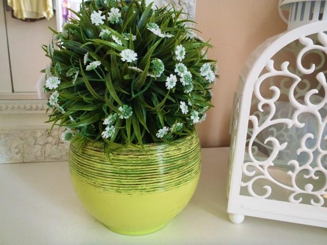 keramický zelený kvetináčik - Obrázok č. 1