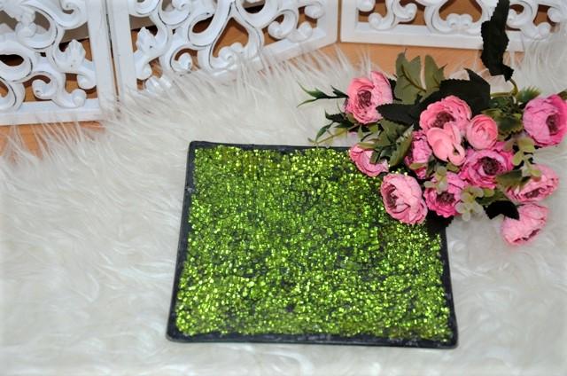 sklenený mozaikový tanierik na sviečky - Obrázok č. 1