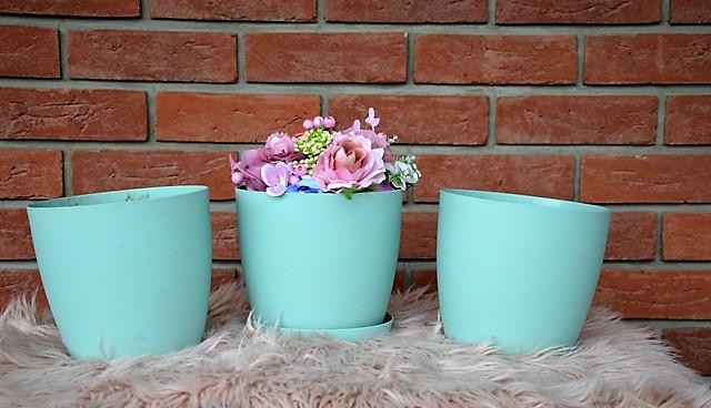 3 x mint plastový kvetináč - Obrázok č. 1