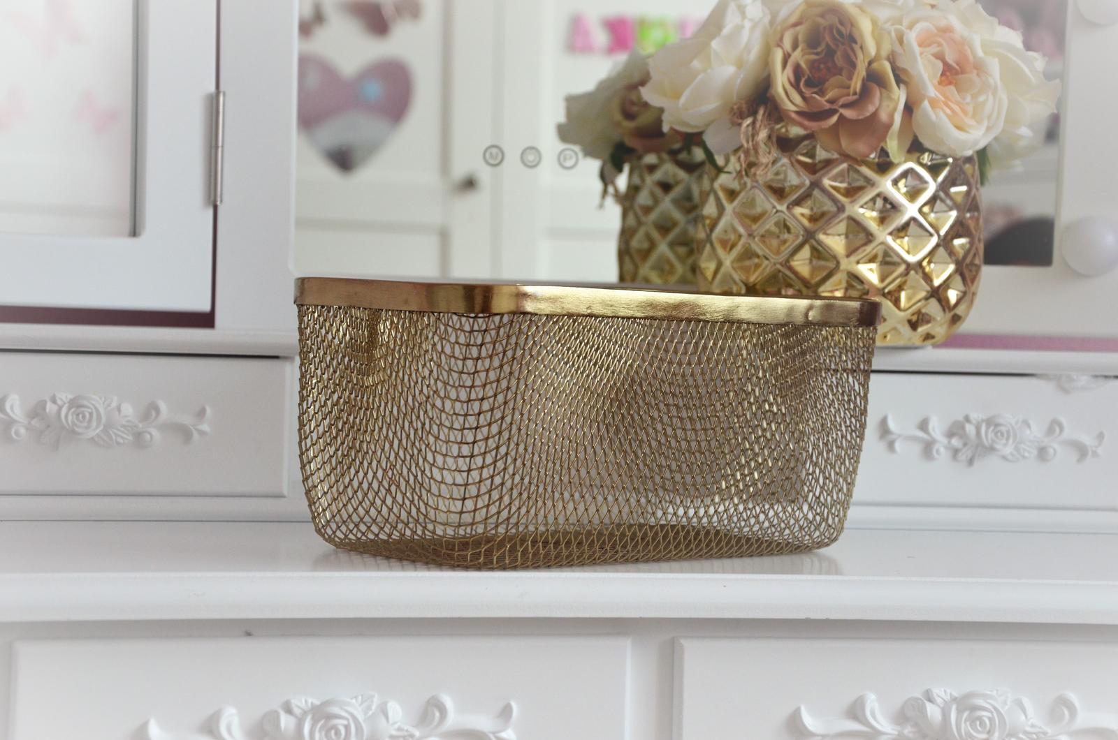 zlatý kovový úložný košík - Obrázok č. 1