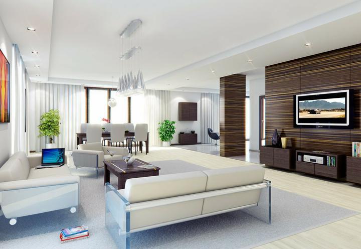 Obývací pokoj a kuchyn ispirace - jednoduché, čisté, krásné