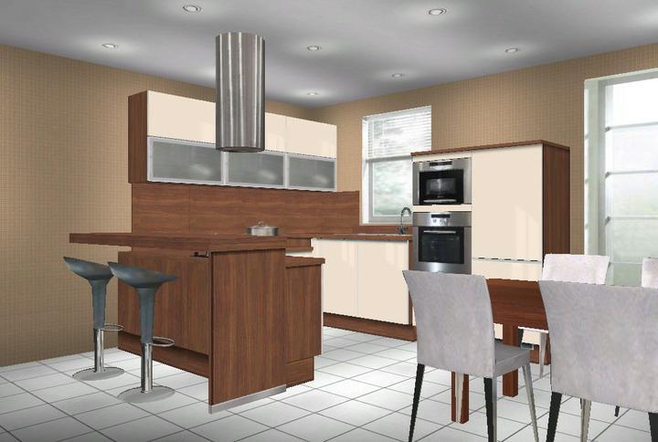 Kuchynka - Návrhy a inšpirácie - ďalší návrch ..digestor (teda aj varná doska)  pri barovom pulte....tým pádom by bolo viacej horných skriniek