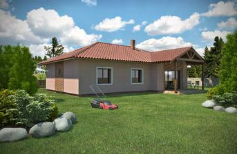 NICE WOOD 138 B Tento bungalov je možné umístit na rovinatý či mírně svahovitý pozemek.Je určen pro 4 člennou rodinu.