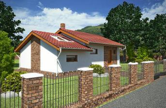 NICE WOOD 77 B Tento bungalov je možné umístit na na rovinatý či mírně svahovitý  pozemek.Je určen pro 3 člennou rodinu.Patří mezi nejprodávanější rodinné domy.
