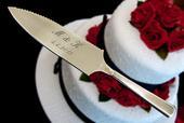 Nůž a lopatka na svatební dort v jednom,