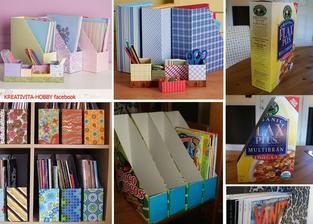 """""""šanony"""" z krabic od cereálií .... ztaženo z FB stránek Kreativita-hobby"""