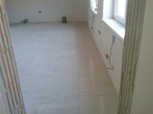 Prízemie - Obývačka Jul_15_2013 - príprava na ukladanie dlažby - rozmeranie dlažby