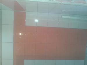 Prízemie - Sprcha Jul_24_2013 - lepenie dlaždíc - ARTE New Naranja - druhá stena - deň ôsmy