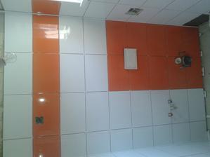 Prízemie - Sprcha Jul_25_2013 - lepenie dlaždíc - ARTE New Naranja - stvrtá stena - deň deviaty