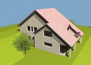 dům je zasazen do velkého kopce