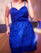 Kráľovsky modré spoločenské šaty, veľkosť 36-38, 36