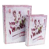 Dřevěná kniha - LEVANDULE - 2 ks,