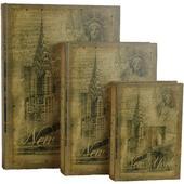 Dřevěná kniha - NEW YORK - 3 ks,