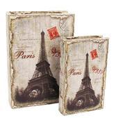 Dřevěná kniha - PARIS - 2 ks,