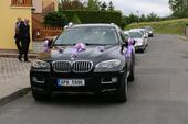Výzdoba pro svatební auta do fialova,