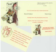 Naše oznámení + kartičky - vlastní výroba
