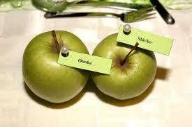 Přípravy - Takovéto nějaké budeme mít jmenovky. I červené jablíčka. Vzor z oznámení...